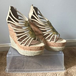 High platform cork wedges